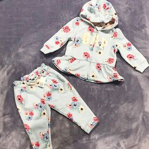 New! Baby Gap matching set track suit blue floral
